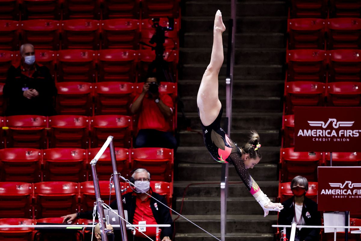 Utah's Maile O'Keefe competes on the bars during a meet against Arizona at the Huntsman Center in Salt Lake City on Saturday, Jan. 23, 2021.
