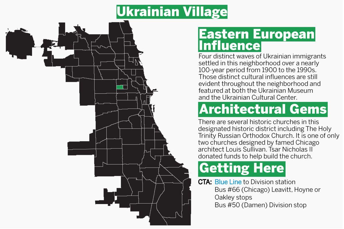 Ukrainian Village is three miles northwest of downtown Chicago. | Graphic by Tanveer Ali