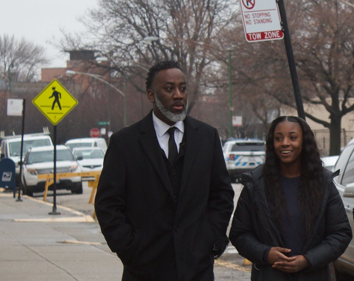 Laurentio and Dnigma Howard leave a court hearing Feb. 6, 2019 at the Cook County Juvenile Justice Center.
