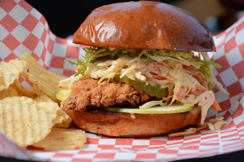 Fried chicken sandwich at Chez Jay.