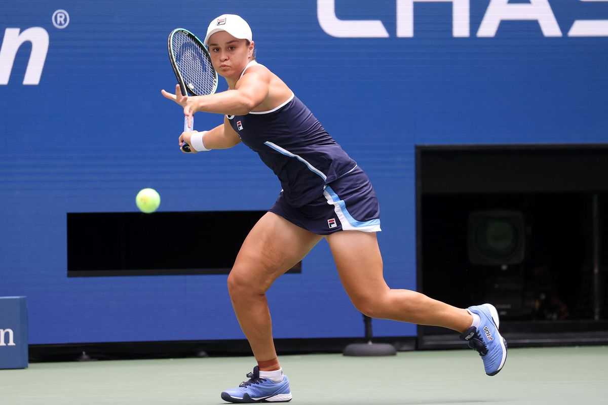 Ashleigh Barty of Australia returns the ball against Vera Zvonareva of Russia during her Women's Singles first round match on Day Two of the 2021 US Open at the Billie Jean King National Tennis Center on August 31, 2021 in the Flushing neighborhood of the Queens borough of New York City.