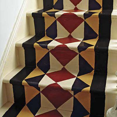 Paint on stairways that create the illusion of a carpet.