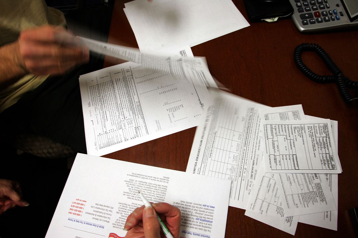 A tax return is prepared at the Southern California Tax Assistance Program in Inglewood, California.