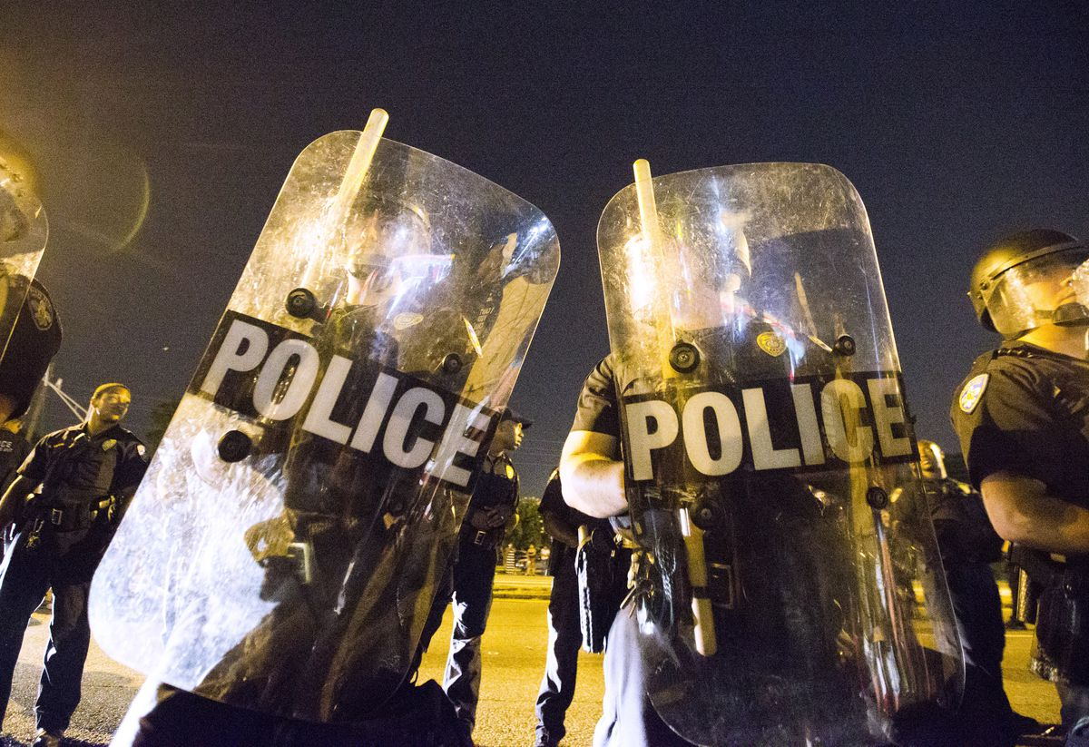 Baton Rouge police officers at a recent protest against police brutality