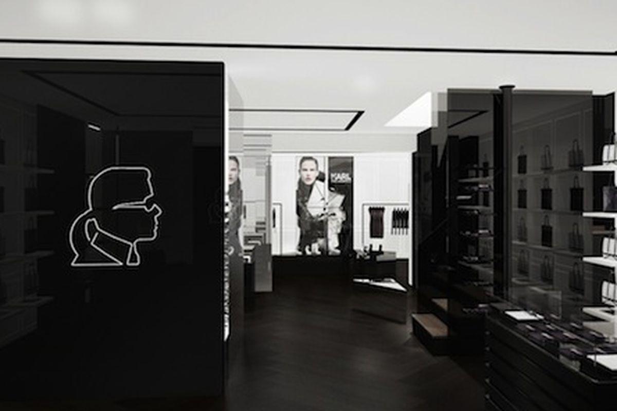 "A rendering of Karl Lagerfeld's upcoming Paris boutique via <a href=""http://www.wwd.com/fashion-news/fashion-features/lagerfeld-to-open-paris-boutique-6353722"">WWD</a>"