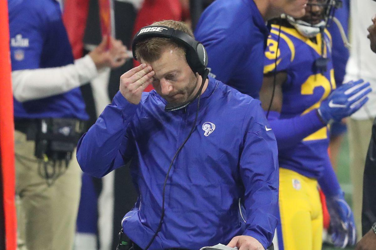 Los Angeles Rams Head Coach Sean McVay during Super Bowl LIII against the New England Patriots, Feb. 3, 2019.