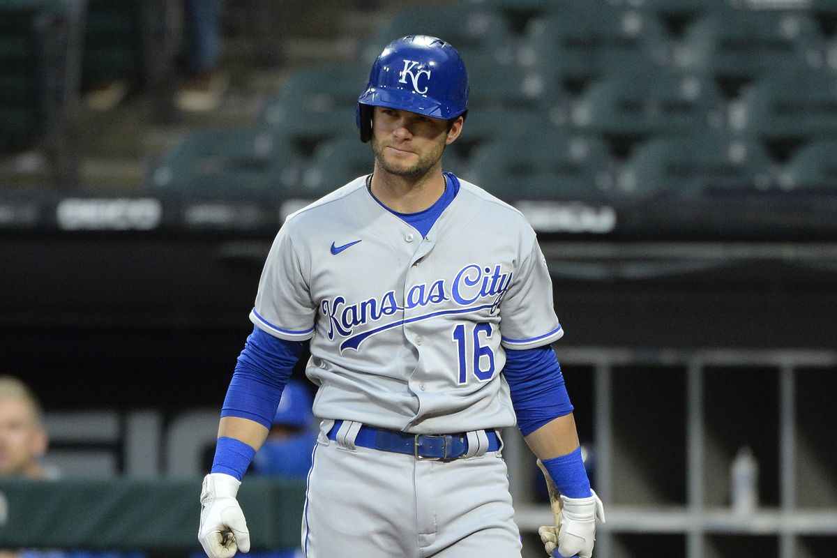 Andrew Benintendi #16 of the Kansas City Royals bats against the Chicago White Sox during the 2021 White Sox home opener on April 8, 2021 at Guaranteed Rate Field in Chicago, Illinois.