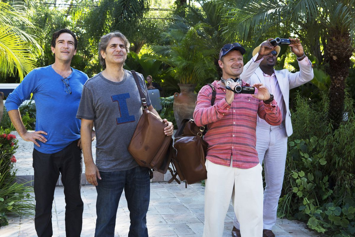 The cast of Mad Dogs arrives at a palatial estate in Belize.