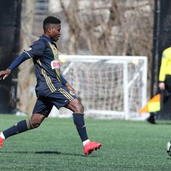 Daniel Yallah playing for the Philadelphia Union U19s in a friendly against West Chester United in April 2018