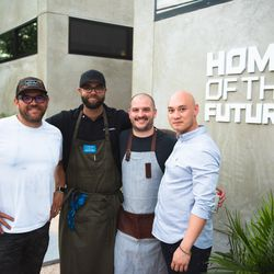 Chef Ryan LaChaine of Riel, Houston, TX and crew on site at Home of the Future.