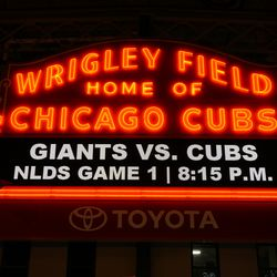 The marquee before the game