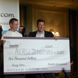 Andrew Zimmerman from Sepia winning $5,000 for best dish of the night.