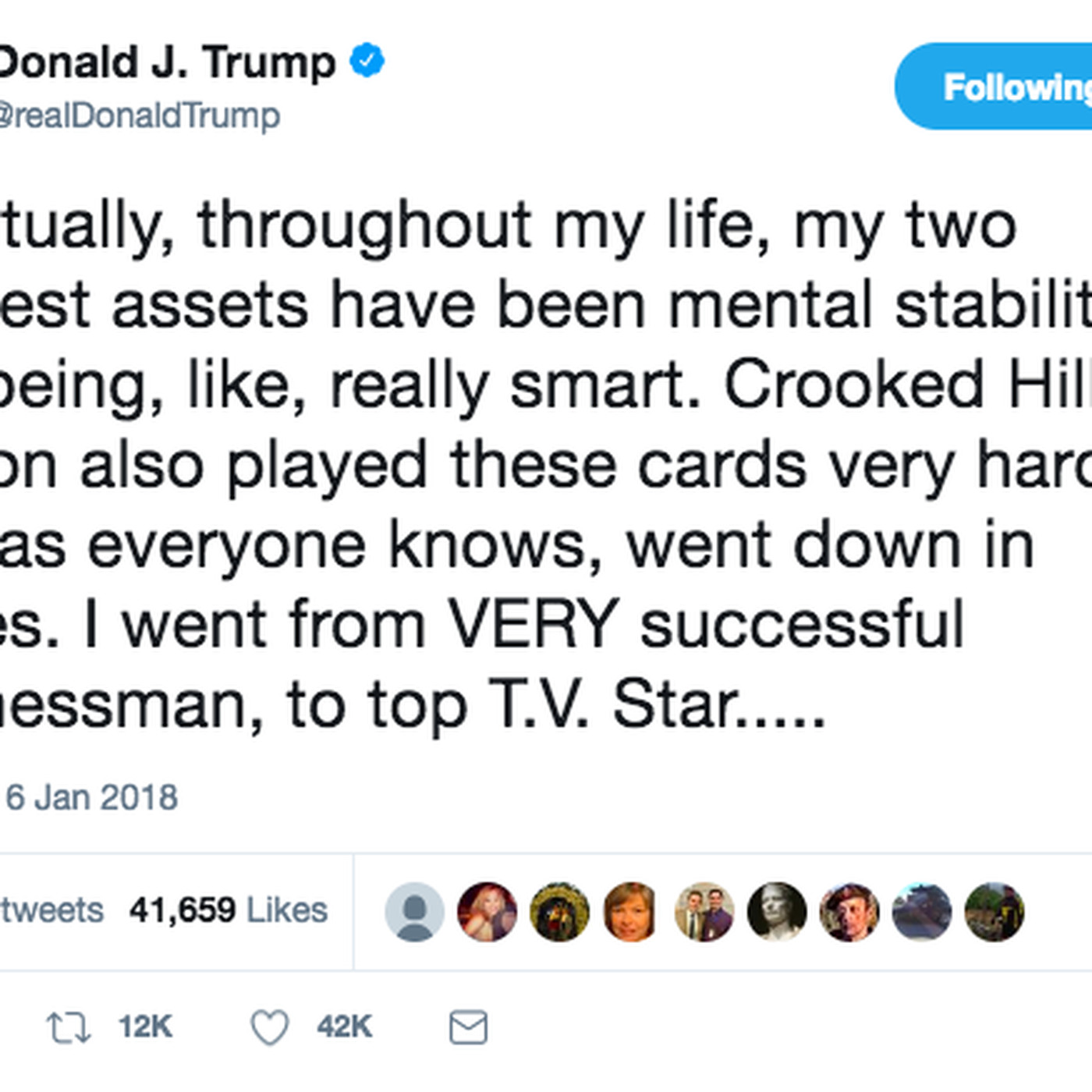 Trump Tweets That Hes A Genius And A Very Stable Genius At That