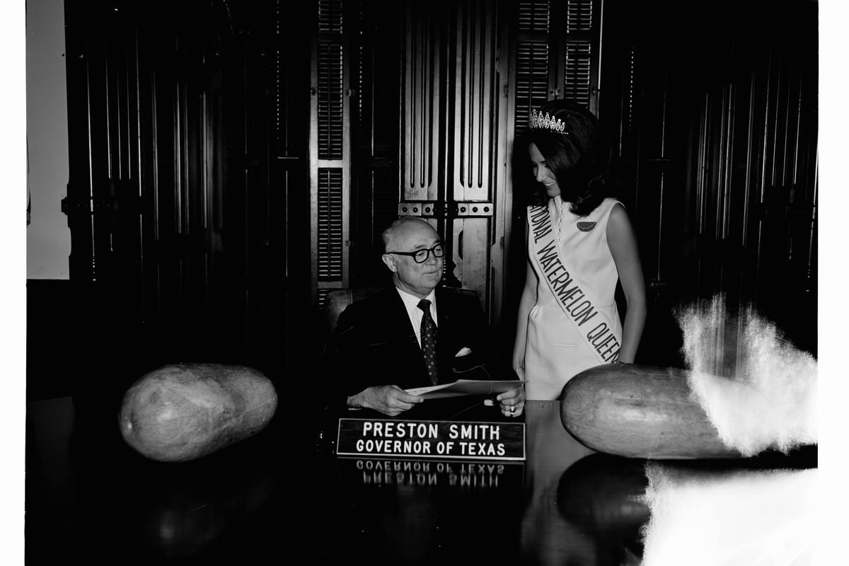 The 1970 National Watermelon Queen with Texas Governor Preston Smith
