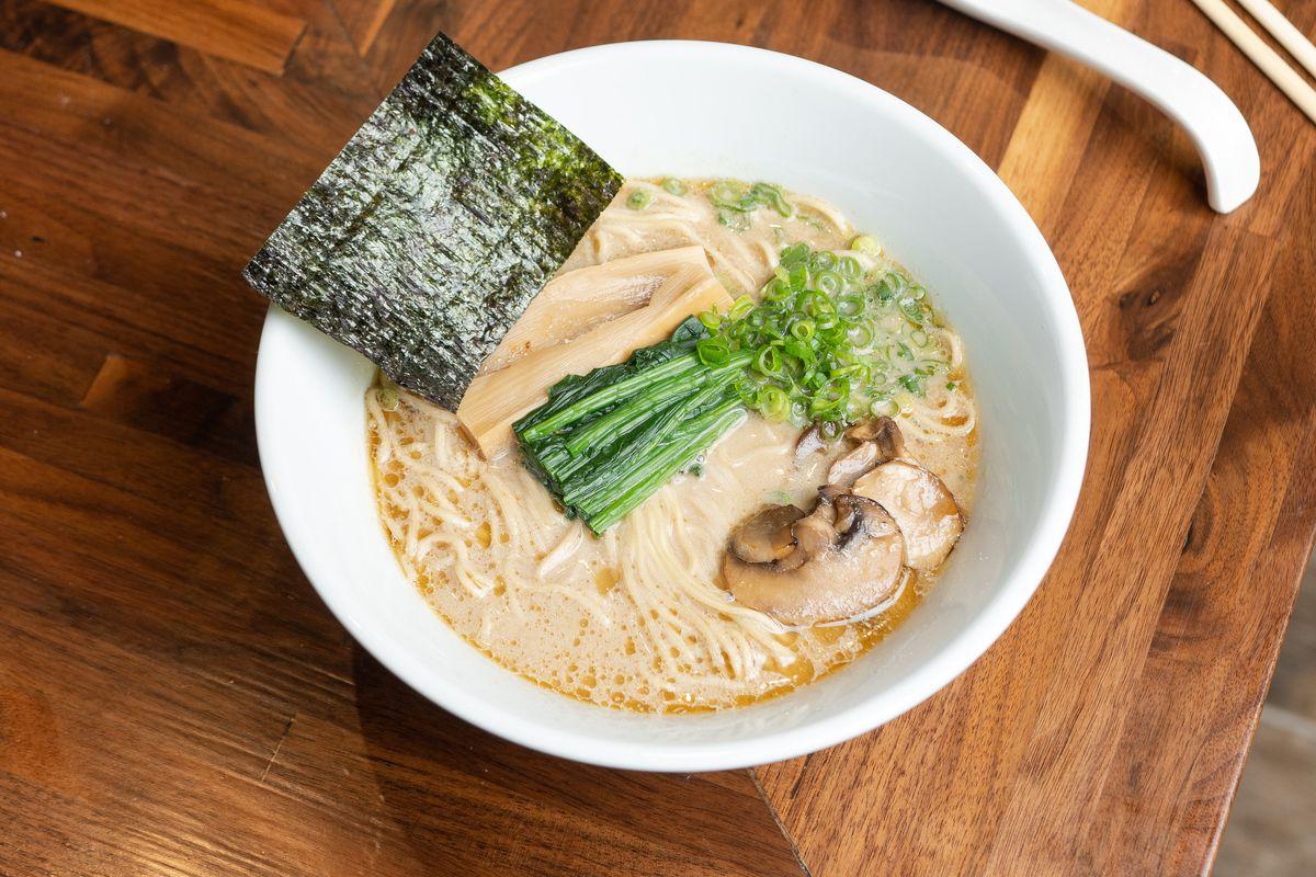 Vegetarian ramen at Menya Hosaki comes with an almond milk-based broth