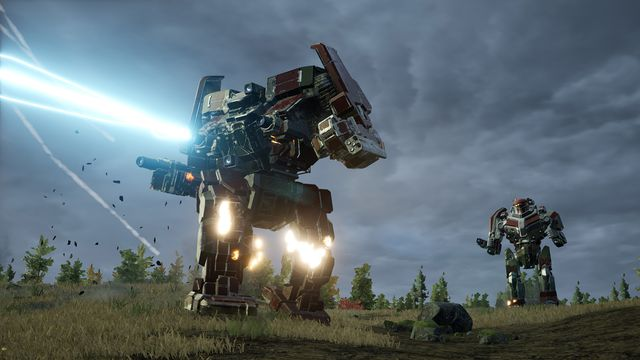 An Awesome-class BattleMech opens up with a particle projection cannon while a Black Knight lancemate looks on.