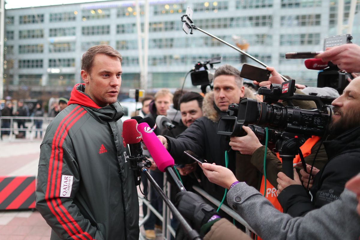 FC Bayern Meets Audi e-tron MUNICH, GERMANY - JANUARY 24: Manuel Neuer of Bayern Muenchen speaks to the press during a promotional event at Airport Munich on January 24, 2019 in Munich, Germany. FC Bayern meets Audi e-tron: FC Bayern was one of the first Audi partners to test drive the new Audi e-tron.