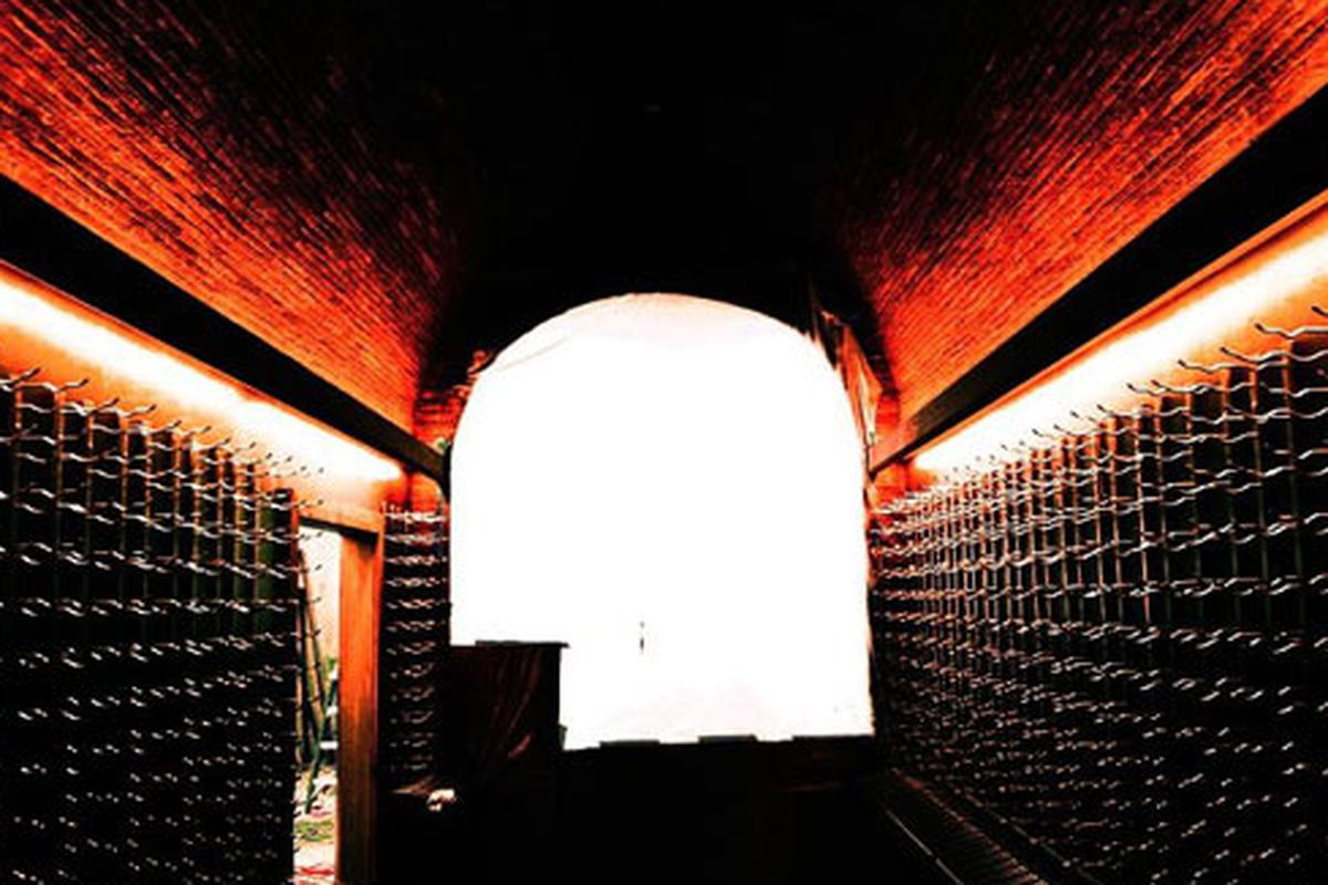 STG Trattoria bottle cave prior to filling it with wine bottles.