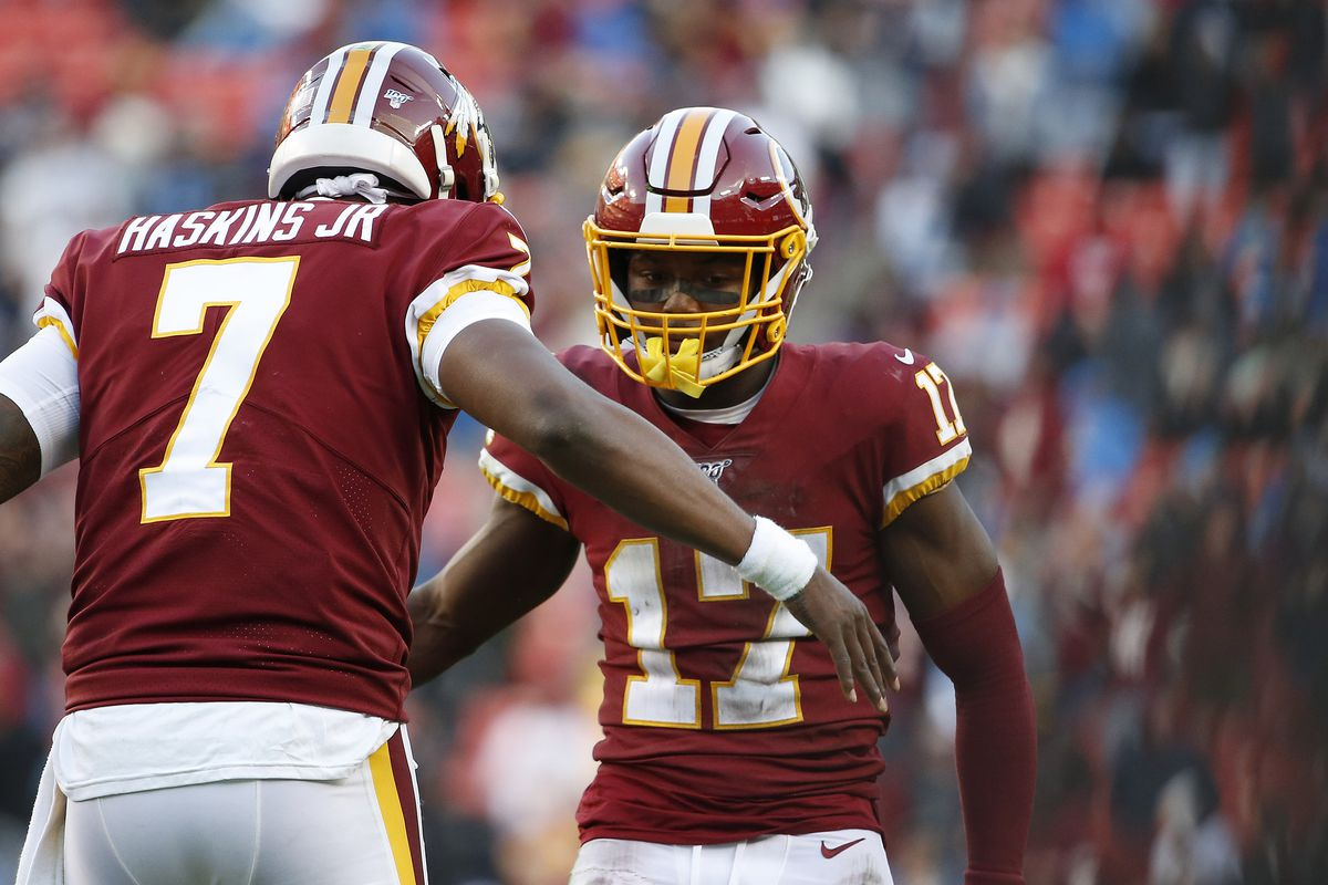 Washington wide receiver Terry McLaurin celebrates with Redskins quarterback Dwayne Haskins after a play against the Detroit Lions during the second half at FedExField.