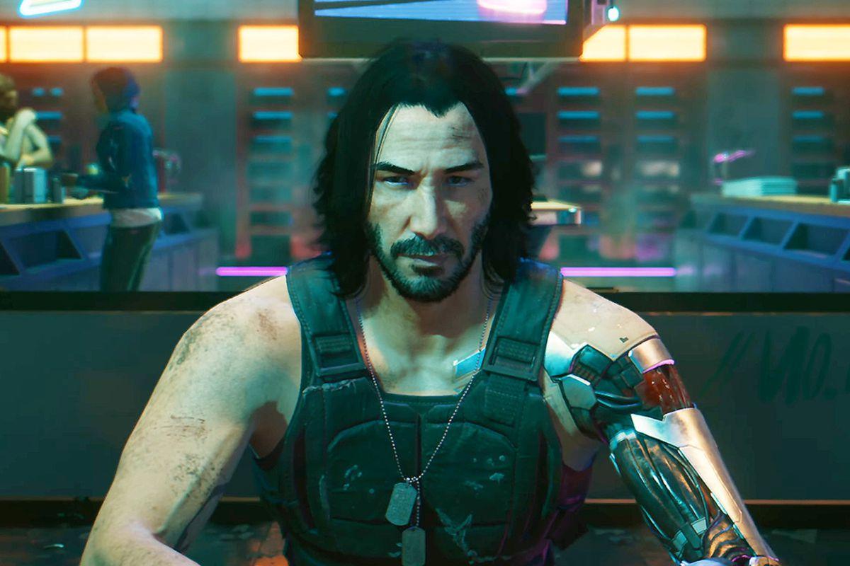 Keanu Reeves as Johnny Silverhand in Cyberpunk 2077.