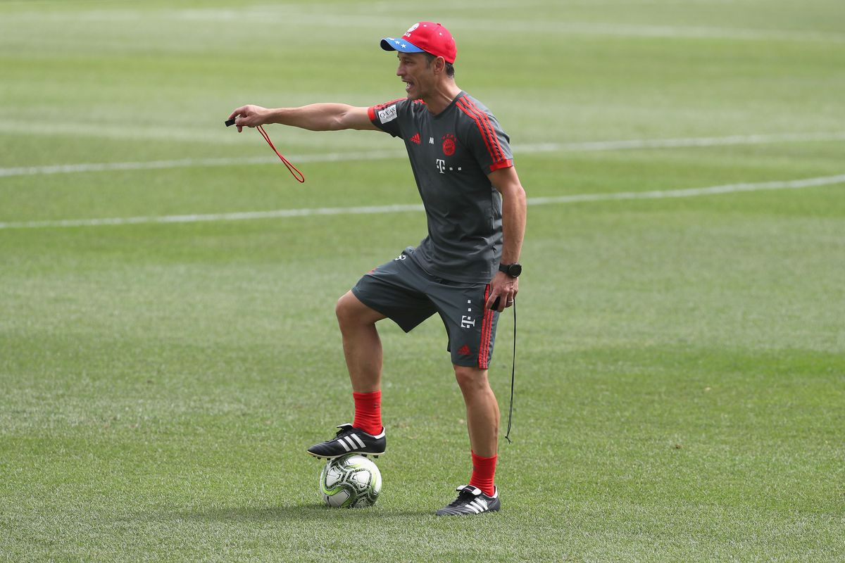 FC Bayern AUDI Summer Tour 2018 - Day 2 PHILADELPHIA, PA - JULY 24: Team coach Niko Kovac of FC Bayern Muenchen reacts during a training session on the second day of their FC Bayern AUDI Summer tour 2018 on July 24, 2018 in Philadelphia, Pennsylvania.