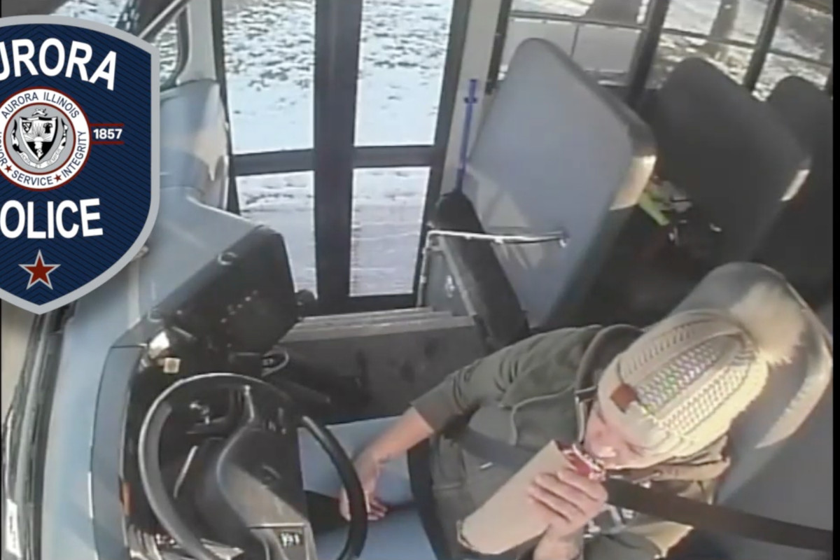 Screenshot of video from the school bus shows driver Michelle Passley drinking beer Nov. 15, 2019, on her route in Aurora.