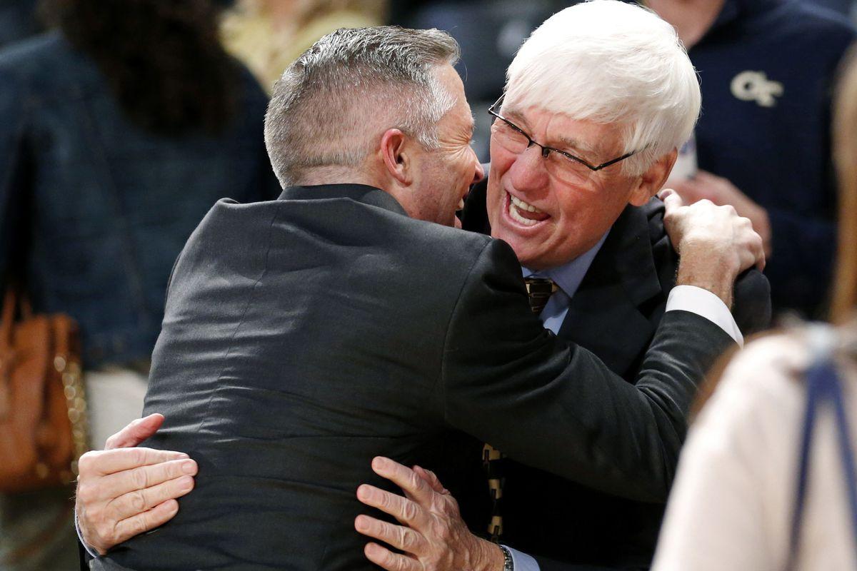 A couple of Tech legends hug it out.