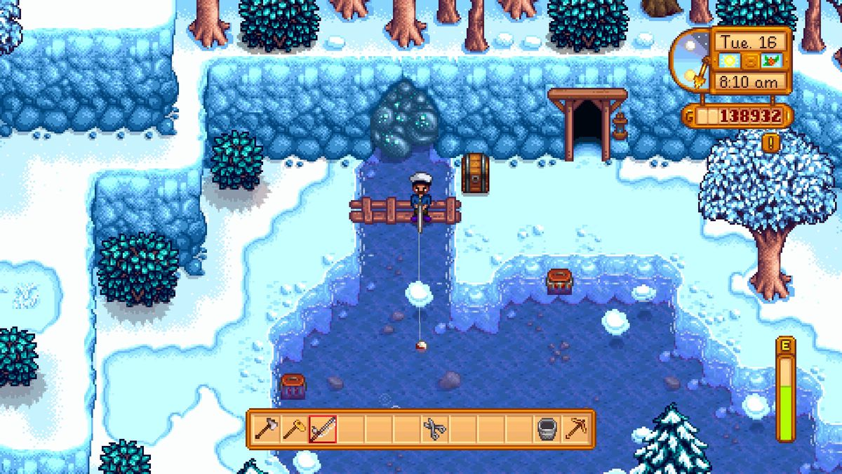 Ernest Hemingway fishing on a wooden bridge at the lake, in front of the glittering boulder that I want removed, in Stardew Valley