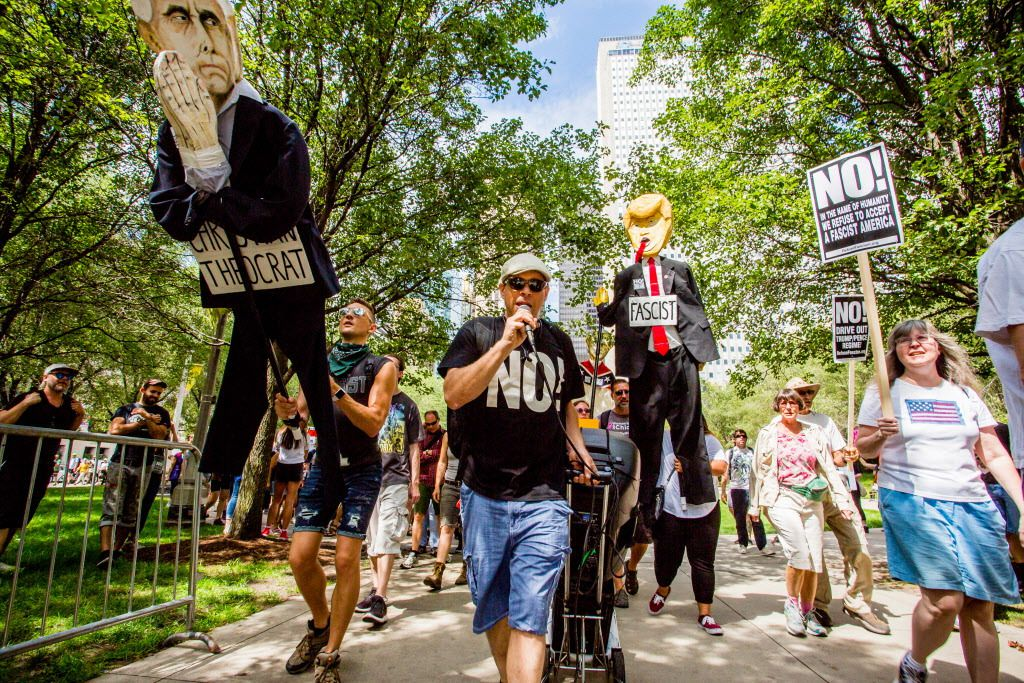 Protesters marched from Millennium Park to Trump Tower in reaction to the violence in Charlottesville, Virginia, over the weekend. | James Foster/For the Sun-Times