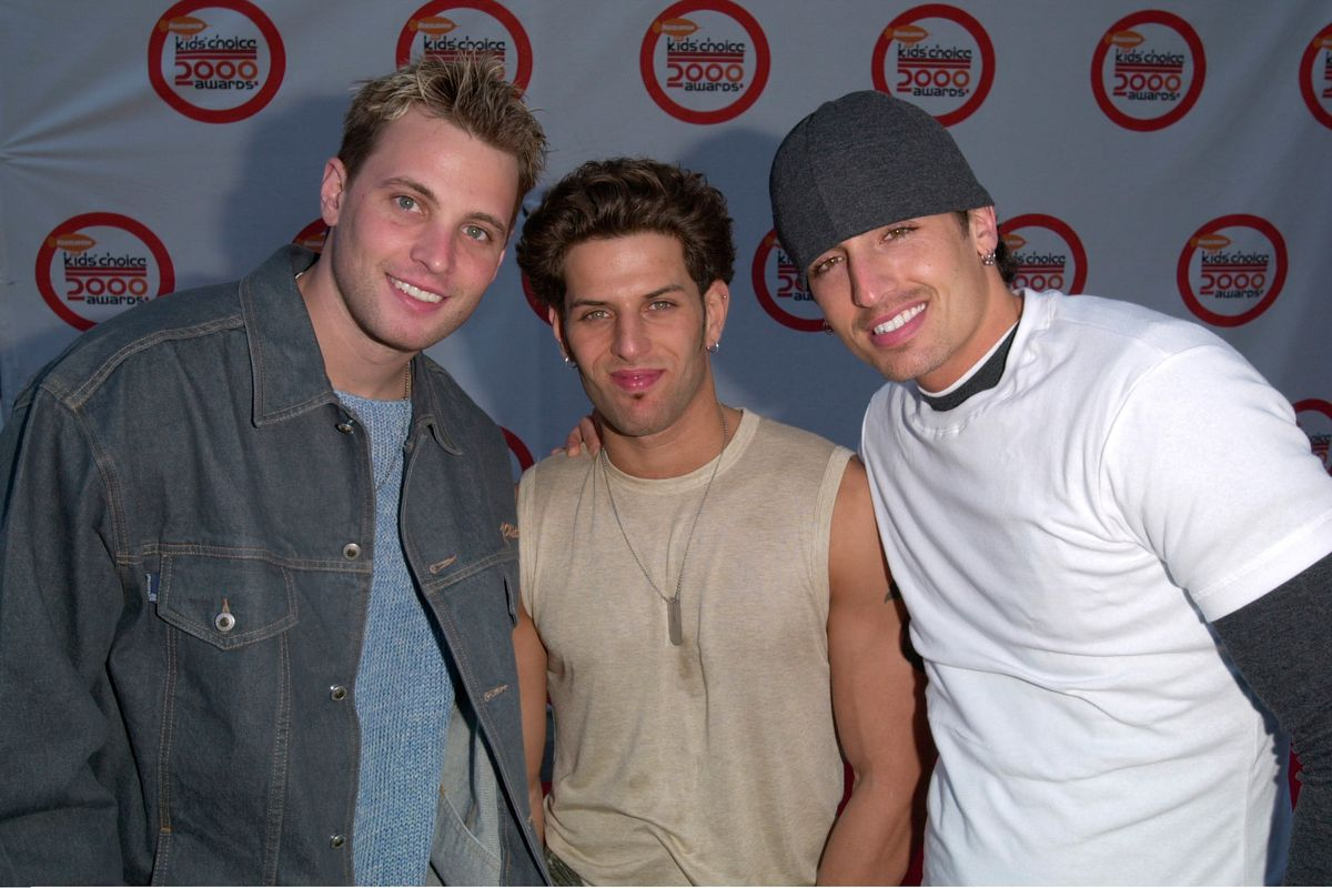 The members of LFO appear at Nickelodeon's Kids' Choice Awards in 2000.