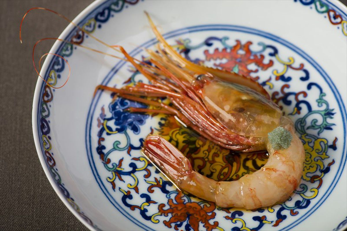 A prawn on a Chinese ceramic dish