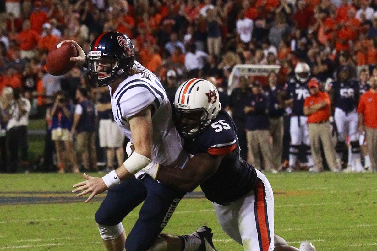 Carl Lawson sacks quarterback for Auburn first half Ole Miss vs Auburn on Saturday, October 5, 2013 in Auburn, Ala Lauren Barnard
