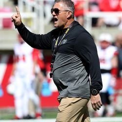Utah coach Kyle Whittingham yells during the annual Red & White Spring Game at Rice-Eccles Stadium in Salt Lake City on Saturday, April 15, 2017.