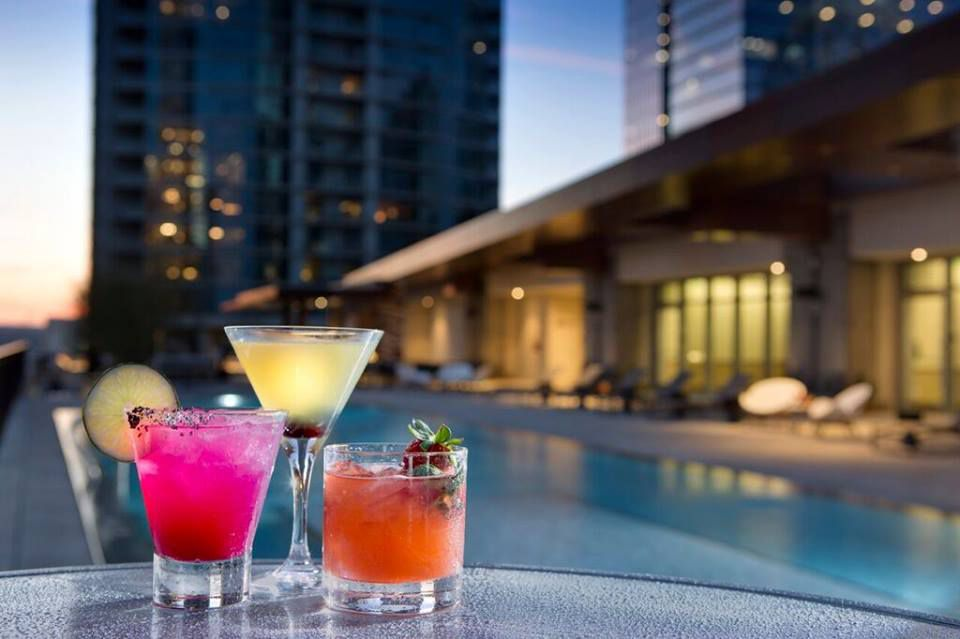 Drinks at the pool at the JW Marriott Austin
