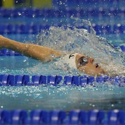 Rhyan White participates in the women's 200 backstroke during wave 2 of the U.S. Olympic Swim Trials on Saturday, June 19, 2021, in Omaha, Neb.