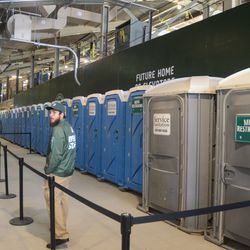 12:28 p.m. Temporary restrooms along the third-base concourse -