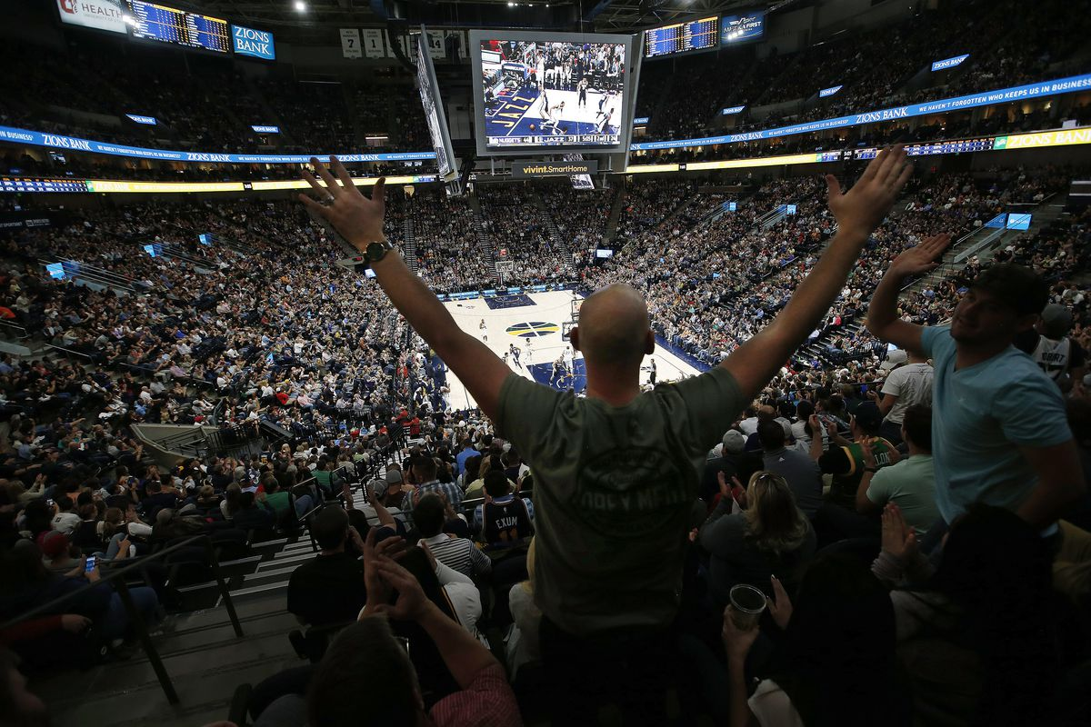 Utah Jazz fans cheer for their home team in the renovated Vivint Arena as the 2017-18 NBA season tips off in Salt Lake City on Wednesday, Oct. 18, 2017.