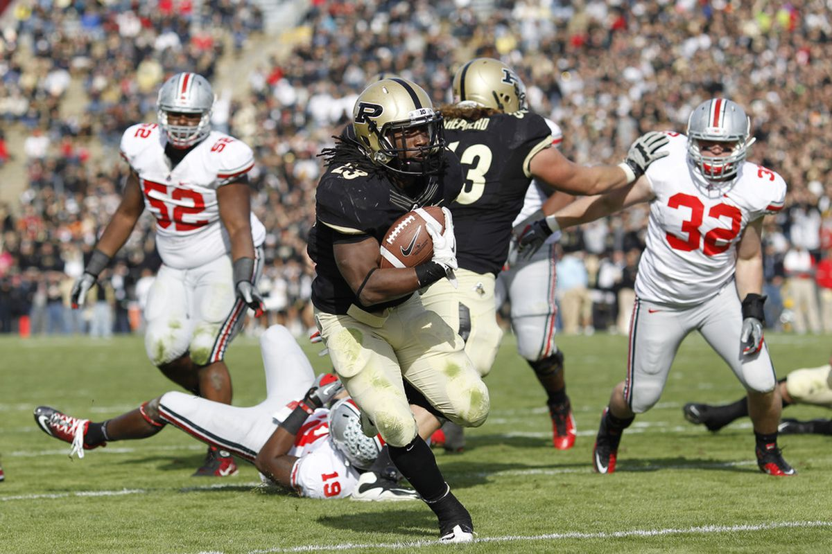WEST LAFAYETTE, IN - NOVEMBER 12: Ralph Bolden #23 of the Purdue Boilermakers rushes for an appearance in Detroit. (Photo by Joe Robbins/Getty Images)