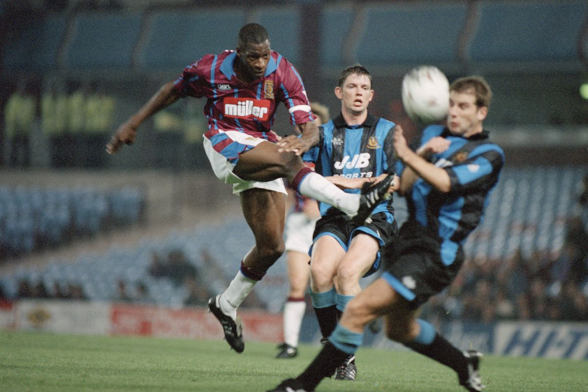 Ugo Ehiogu in action for Aston Villa in a League Cup match on 27 September 1994. Villa won the League Cup in 1994 and 1996, their two pieces of silverware won after the 1987 relegation.