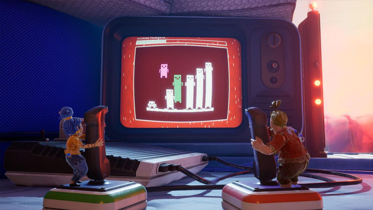 The two protagonists of It Takes Two, both shrunk down into tiny dolls, have to operate game joysticks together