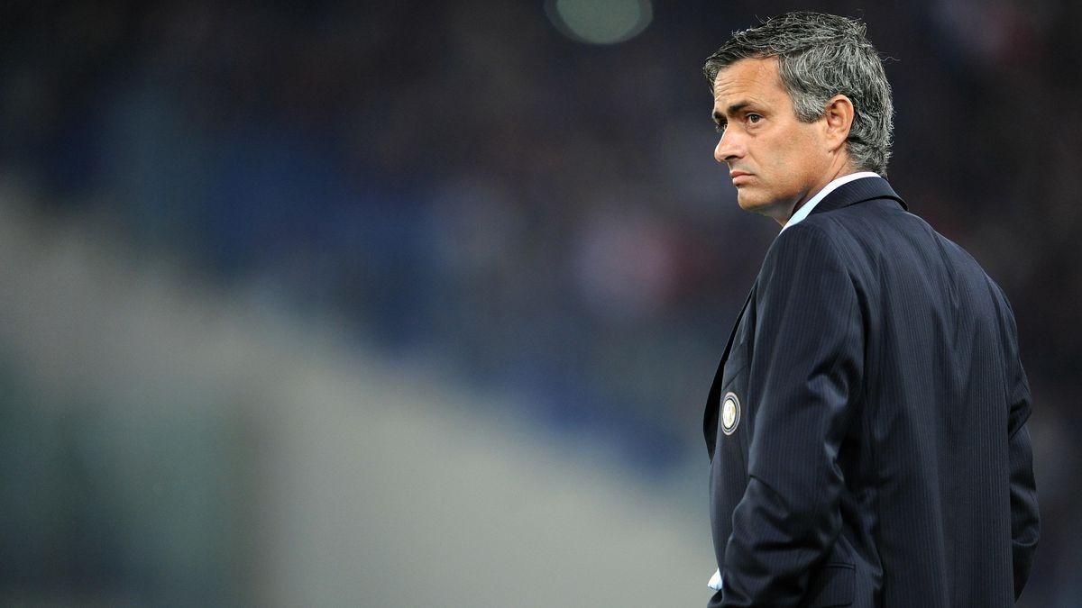Inter Milan's coach Jose Mourinho waits