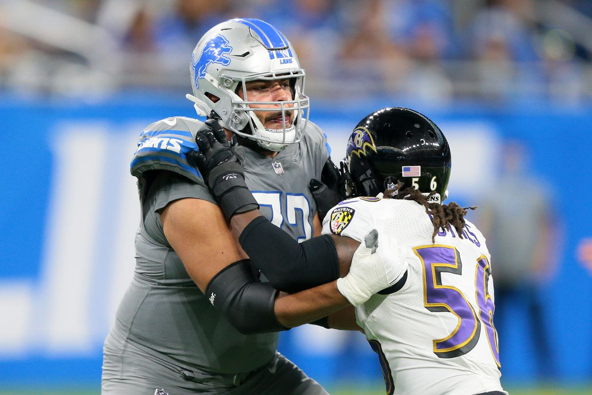 Detroit Lions offensive guard Jonah Jackson (73) defends against Baltimore Ravens Josh Bynes during the second half of an NFL football game in Detroit, Michigan USA, on Sunday, September 26, 2021