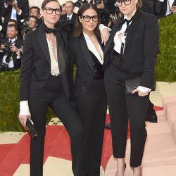 Jenna Lyons, Jenni Konner, and Lena Dunham, all wearing J Crew.