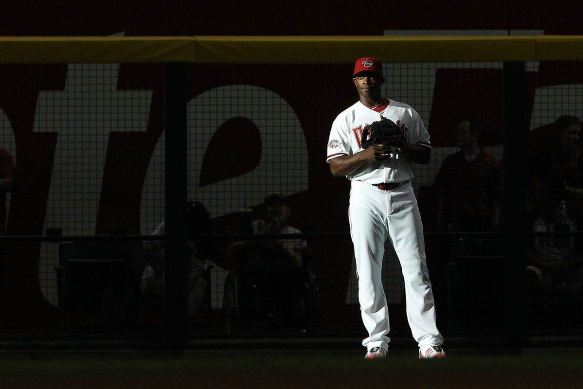 PHOENIX, AZ - JULY 12:  National League All-Star Justin Upton #10 of the Arizona Diamondbacks stands in the outfield during the 82nd MLB All-Star Game at Chase Field on July 12, 2011 in Phoenix, Arizona.  (Photo by Christian Petersen/Getty Images)