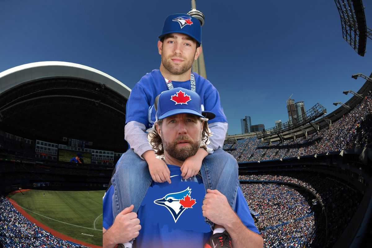 Father and son R.A. Dickey and Daniel Norris visit the Rogers Centre after reading some Tennyson in the Volkswagen bus they live in.