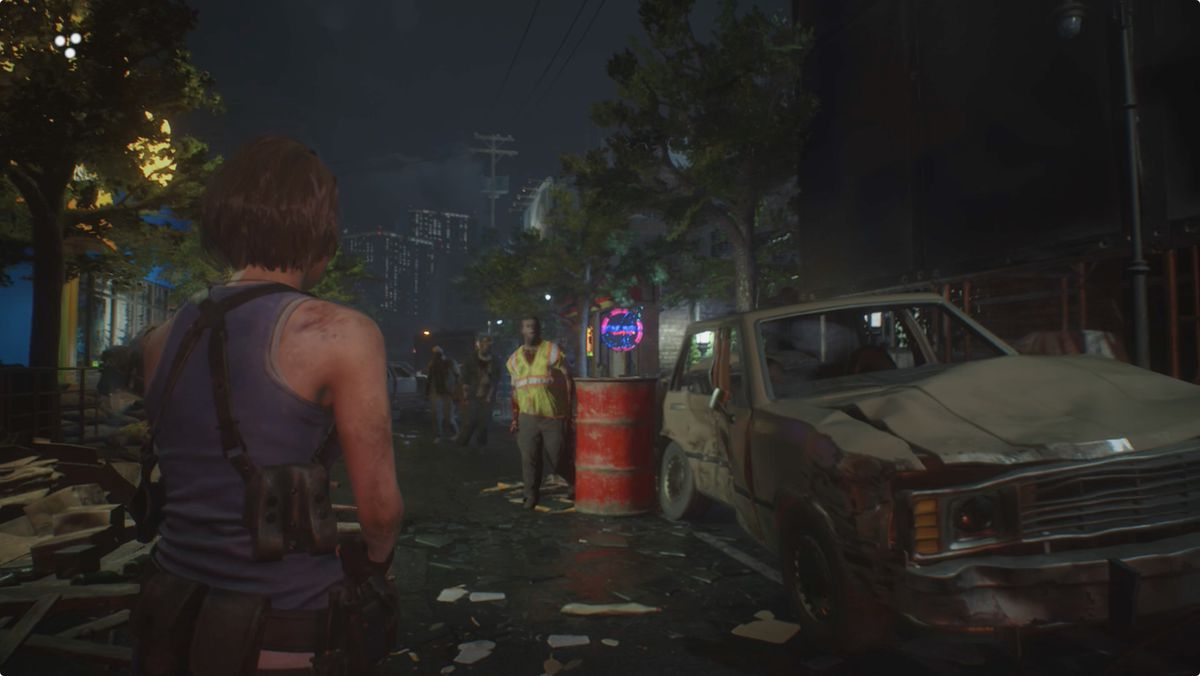 Resident Evil 3 Downtown streets red barrel