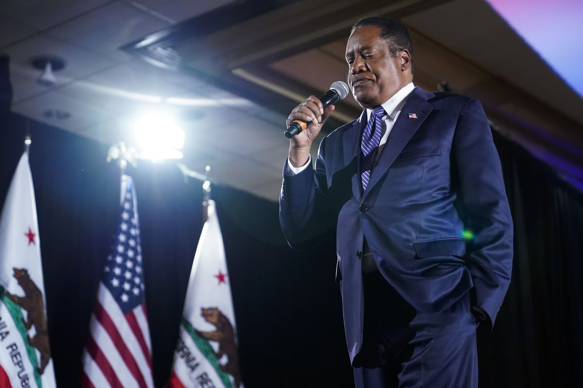 Republican Larry Elder speaks to supporters after losing the California gubernatorial recall election Tuesday, Sept. 14, 2021.