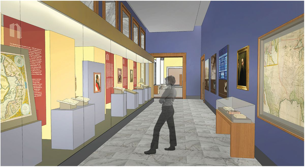 A permanent gallery on the first floor of the Newberry Library is depicted in this artist's rendering.   COURTESY NEWBERRY LIBRARY