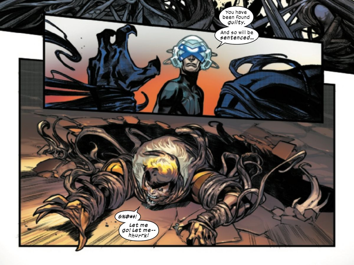 """""""You have been found guilty. And so will be sentenced,"""" Professor X tells Sabretooth, who is being dragged into a black pit by Krakoa's vine tendrils, in House of X #6, Marvel Comics (2019)."""