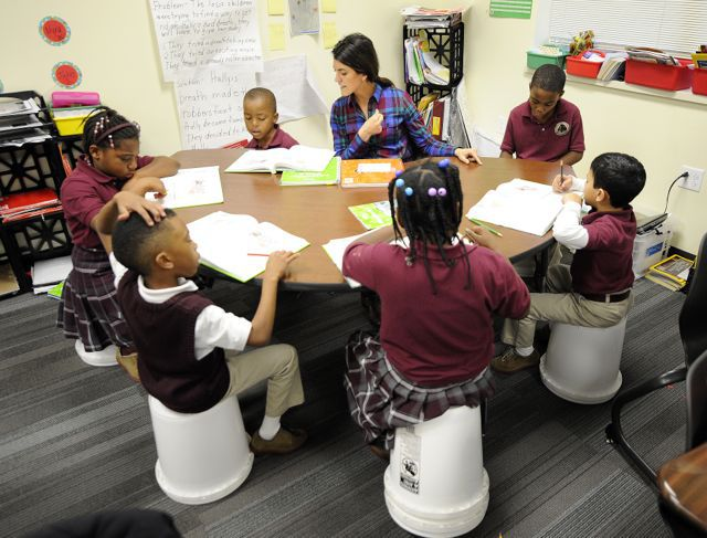 Second graders work on literacy at Tindley Renaissance School last year.